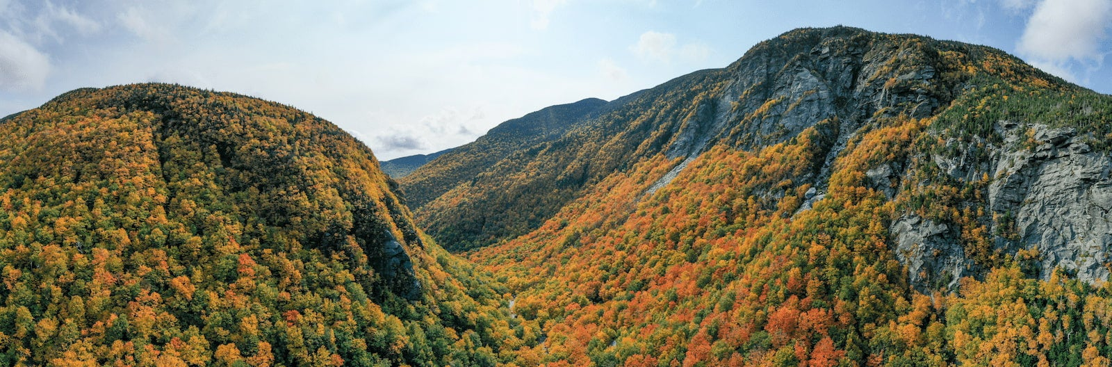 The fall foliage in Vermont's Green Mountains at Smuggler's Notch.