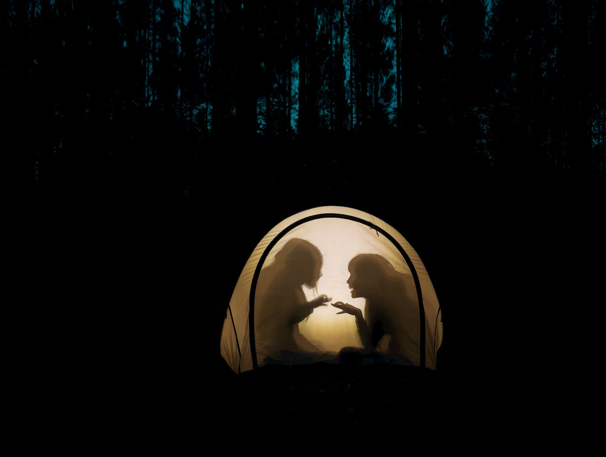 Scary camping stories during halloween.